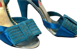 Betsey Johnson Sandal Pumps Leather Soles Tabatha Teal Blue Formal