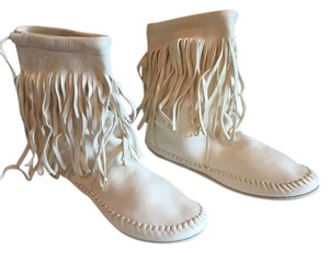 Taos Footwear Native American Indian Fringe Leather White Boots