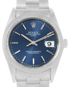 Rolex Rolex Date Mens Blue Baton Dial Stainless Steel Watch 15200