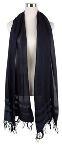 Bottega Veneta $990 New Navy Cashmere Silk Long Scarf Leather Detail 308347 4000