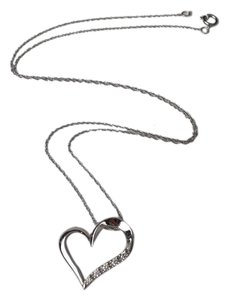 Zales 1/6 CT. T.W. Diamond Heart Necklace in 10K White Gold