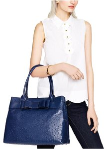 Kate Spade Ostrich Leather Bow Tote in Royal Navy