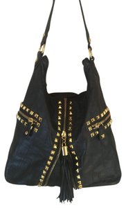 Betsey Johnson Hobo Crocodile Gold Studding Shoulder Bag