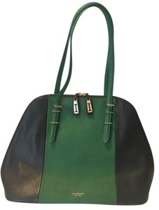 Isaac Mizrahi Green Black Leather Gold Satchel in black/green