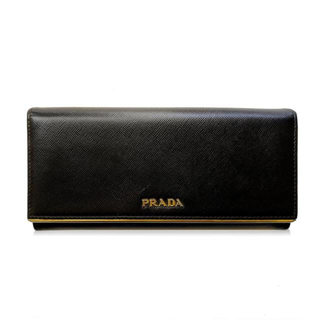 Item - Black Gold Bifold Saffiano Long Leather Wallet