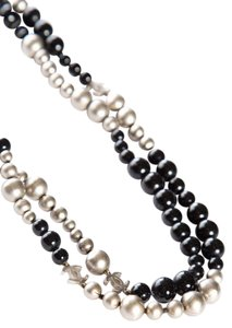Chanel Chanel Silver & Black Long Strand Beaded CC Charm Necklace