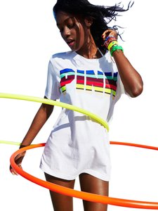 Victoria's Secret T Shirt White Rainbow