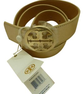 Tory Burch TORY BURCH $195 Ladies Classic Logo Belt Reversible Leather Gold/Camel