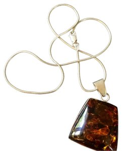 Other Bohemian Amber Pendant with Silver Necklace