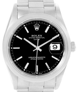 Rolex Rolex Date Black Baton Dial Domed Bezel Steel Mens Watch 15200