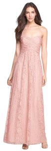 Amsale Blush Lace Pleated Sweetheart Strapless Gown Formal Bridesmaid/Mob Dress Size 12 (L)