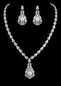 Stunning Cz And Pearl Bridal Jewelry Set