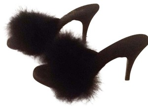Only Sexy things Black satin with bora feathers Mules