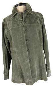 Live A Little Suede Longsleeve Shirt Olive Suede Leather Jacket