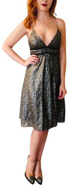 Item - Black Silver Bronze Dvf Lace V Neck Baby Mid-length Night Out Dress Size 4 (S)