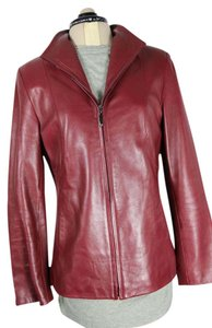Siena Studio Leather Longsleeve Supple Metal Zipper Topstitch Dark Red Leather Jacket