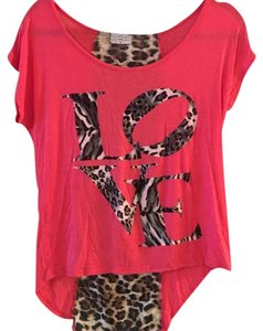 Free Kisses T Shirt Pink and Cheetah