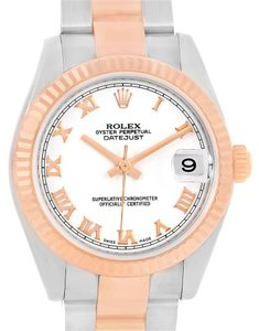 Rolex Rolex Datejust Midsize Steel Rose Gold White Roman Dial Watch 178271