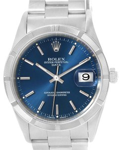Rolex Rolex Date Stainless Steel Blue Baton Dial Automatic Mens Watch 15210
