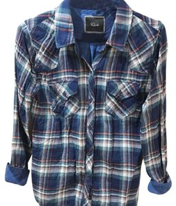 Rails Button Down Shirt Blue Plaid