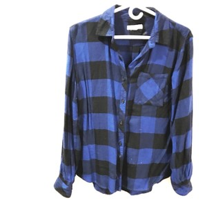 Beach Lunch Lounge Button Down Shirt Black and Blue