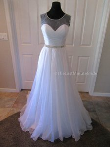 Jacquelin Exclusive White/Silver Organza Susan 19030 Feminine Wedding Dress Size 6 (S)