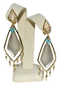Alexis Bittar ALEXIS BITTAR Long Lucite with Jasper and turquoise Earrings Warm Grey