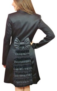 Betsey Johnson Satin Ruffle Velvet Vintage Trench Coat