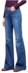 Gap Patch Pocket Cotton Blend Denim Flare Leg Jeans-Medium Wash