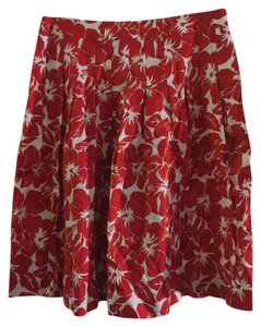 Talbots Pattern Flowers Skirt Red