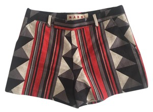 Marni Geometric Mini/Short Shorts Black grey orange print