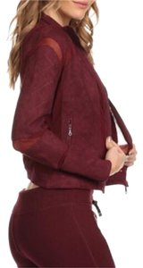 Electric Yoga Burgundy Suede Quilted Moto Jacket