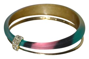 Alexis Bittar NEW Alexis Bittar Paired Set Lucite Gold Bangle Bracelets MOSAIC SILK