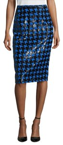 Michael Kors Collection Luxury Houndstooth Jacquard Made In Italy Pencil Skirt Royal blue, black
