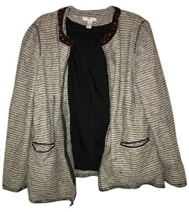 Chico's Open Jeweled Black, White and Red Blazer