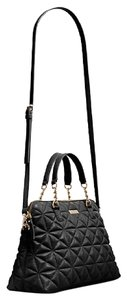 Kate Spade Leather Quilted Gold Hardware New York Classic Satchel in Jet Black