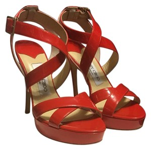 Jimmy Choo Vamp Strappy red Platforms