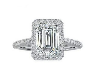 Fashion 925 Silver Rings Emerald Cut Cz Engagement Ring For Women