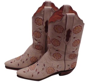Lucchese Like New Condition Box In Perfect Shape Cream with flower embroidery Boots
