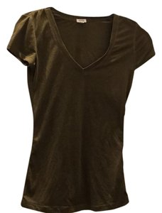 Garage V-neck Polyester Cotton T Shirt Olive Green