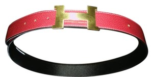 Hermès HERMES Black and Red Reversible Leather Belt with Goldtone H Buckle