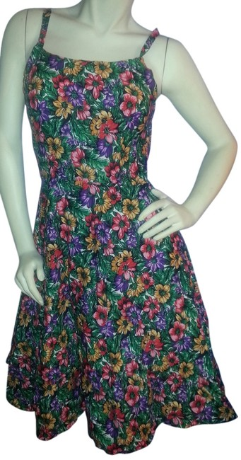 Custom-Made short dress Jewel tones, Red, purple, pink, yellow and green floral on Tradesy