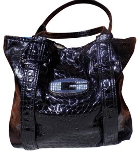 Guess Pebbled Faux Leather Sparkle Classic Retro Satchel in Black