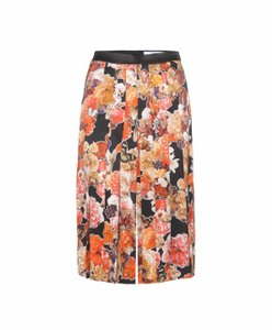 Givenchy Luxury Made In Italy Floral Silk Print Skort Orange, black, multicolor