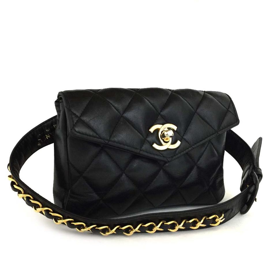 cc86ca1a1e804e Chanel Vintage Fanny Pack Waist Pouch Black Lambskin Leather Clutch ...