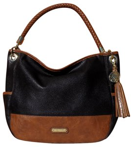 Anne Klein Faux Leather Gold Hardware Braided Tassels Classic Satchel in Black & Brown