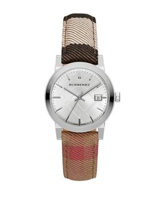 Burberry Women's Swiss The City Housecheck Fabric Strap Watch BU9151