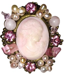 Other Victorian Pink Cameo-Pearl-rose Quartz-Crystal-Brooch-Pin