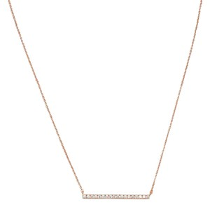 HOT ITEM NEW 14 Karat Rose Gold Plated CZ Bar Necklace