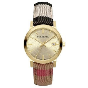Burberry Women's Swiss Gold Tone The City Housecheck Fabric Strap Watch
